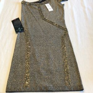 Bebe one shoulder party dress w perfect beading